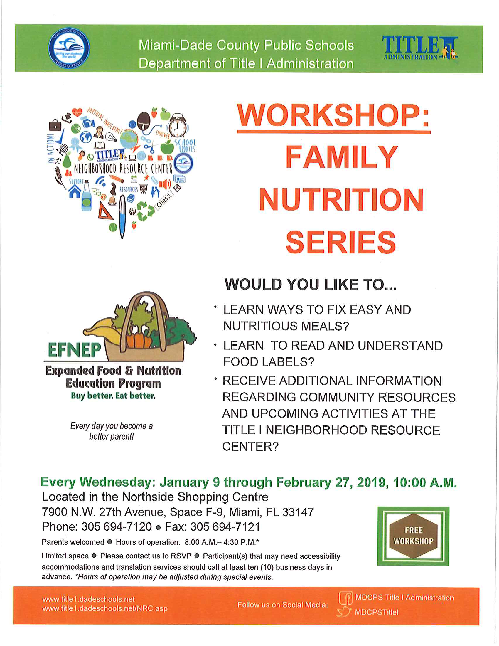 WORKSHOP: FAMILY NUTRITION SERIES @ Located in the Northside Shopping Centre